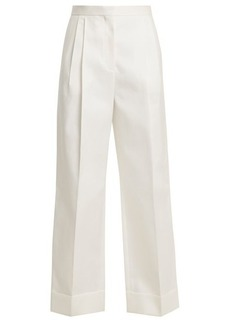 The Row Liano high-rise cotton trousers