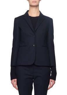 THE ROW Lobston Bracelet-Sleeve Stretch-Cotton Blazer  Navy