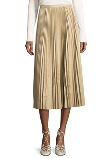 THE ROW Locle Pleated Leather Midi Skirt