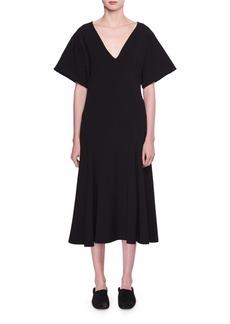 The Row Lucid Deep-V A-Line Midi Dress