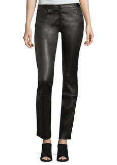 The Row Maddly Leather Straight-Leg Pants