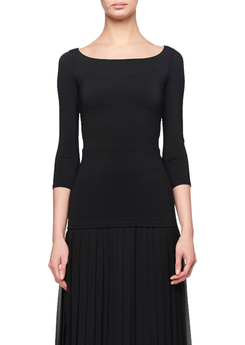 THE ROW Malek Ballet-Neck 3/4-Sleeve Top