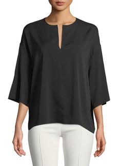 The Row Mariaka Split-Neck Dolman-Sleeve Silk Blouse