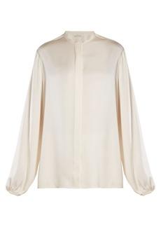 The Row Maura stand-collar satin blouse