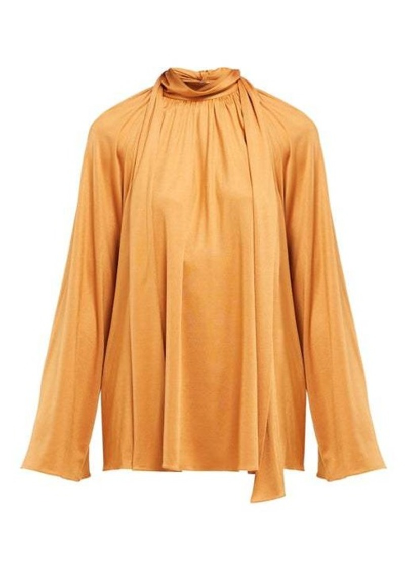 The Row Merrian fluted-sleeve blouse