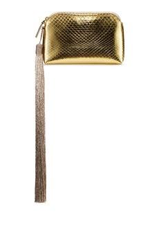 THE ROW Mini Metallic Snakeskin Tassel Wristlet