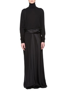 THE ROW Molly Fold-Waist Long Skirt with Suspender Straps
