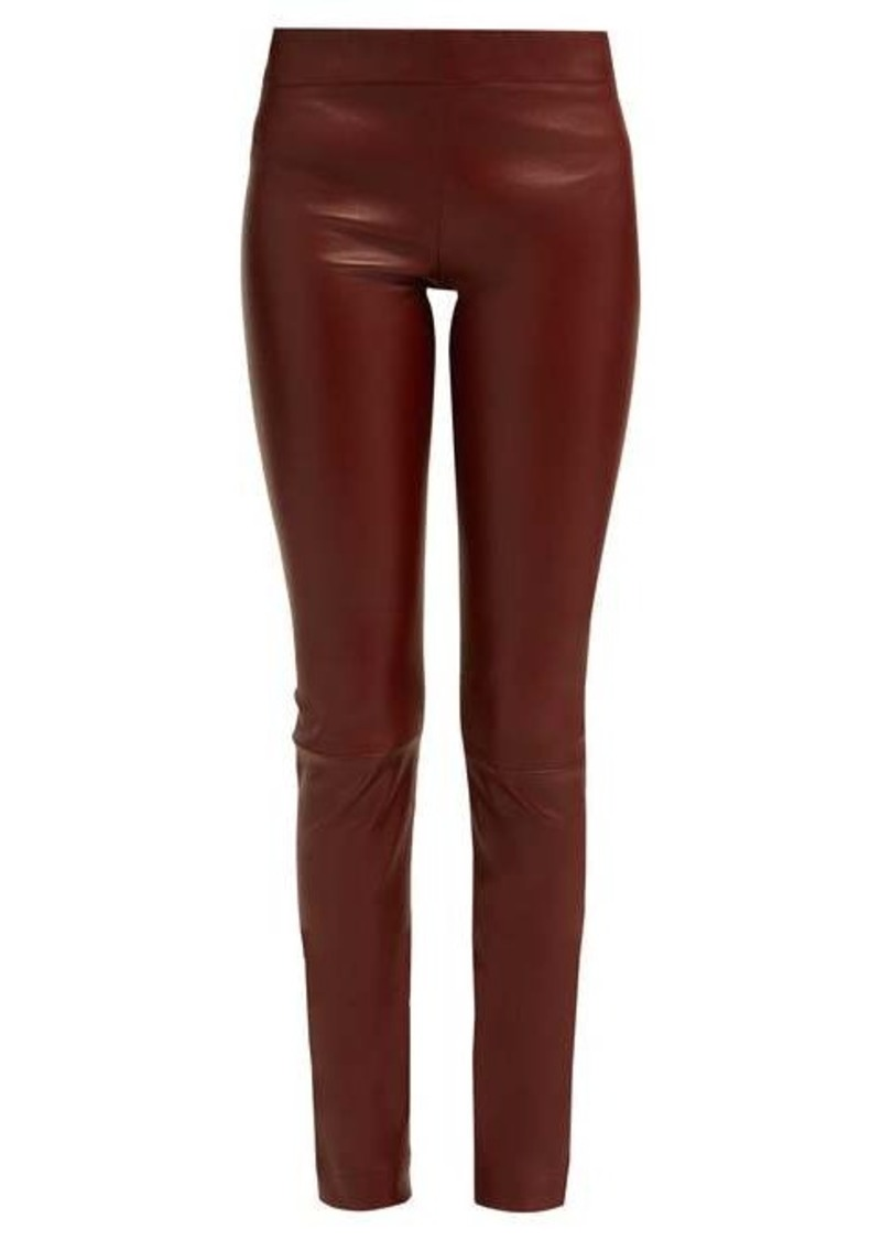 The Row Moto mid-rise leather trousers