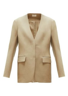 The Row Murray collarless wool-twill blazer