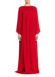 THE ROW Nancy Long-Sleeve Silk Charmeuse Evening Gown