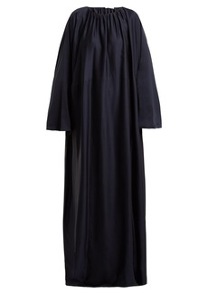 The Row Nancy ruched-neck silk-charmeuse dress