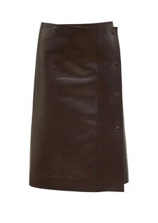 The Row Narai asymmetric leather skirt
