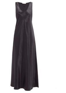 The Row Natasha flared crepe-back satin maxi dress