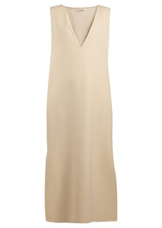 The Row Neila V-neck cashmere and wool-blend dress