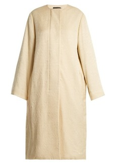The Row Nettle collarless silk-cloqué coat