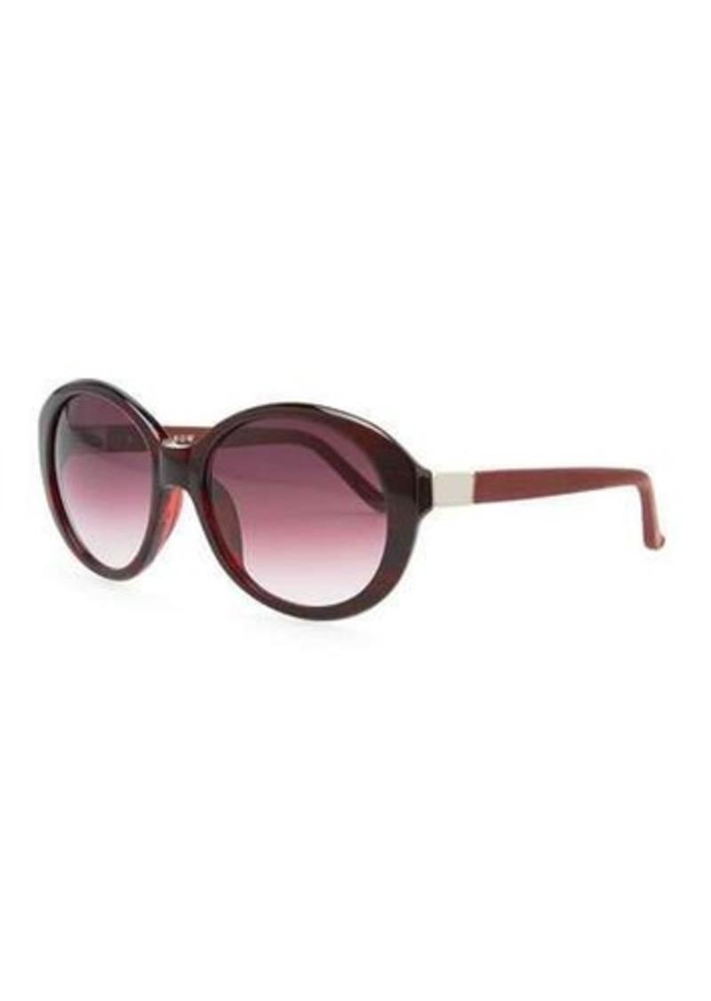THE ROW Oval Leather-Arm Sunglasses