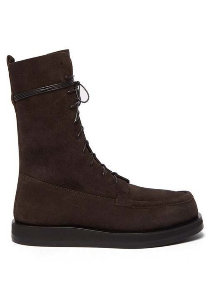 The Row Patty lace-up suede boots