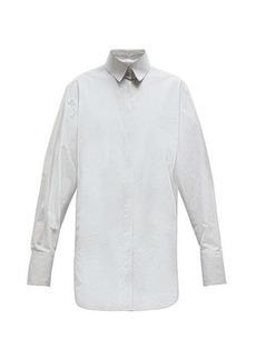 The Row Pedro step-hem striped cotton-Oxford shirt