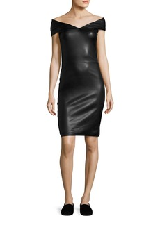 The Row Pierre Off-the-Shoulder Leather Minidress