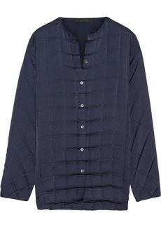 The Row Plisea pleated charmeuse blouse