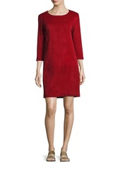 The Row Rina Stretch-Suede 3/4-Sleeve Shift Dress