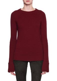 THE ROW Sabra Crewneck Ribbed Wool Sweater