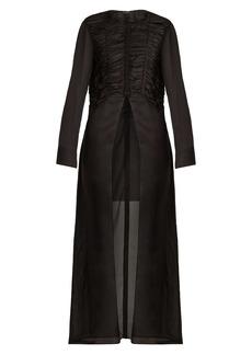 The Row Sabrina ruched silk-georgette shirtdress