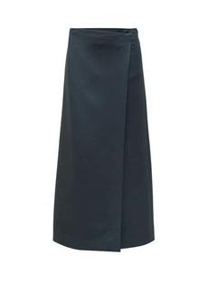 The Row Saio wrap-front wool-blend midi skirt