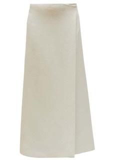 The Row Saio wrap-front wool-blend midi skirt