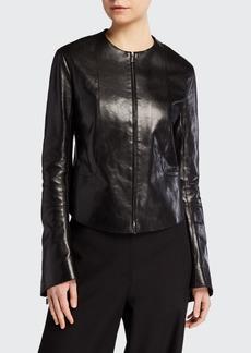 THE ROW Saori Bell-Sleeve Leather Moto Jacket