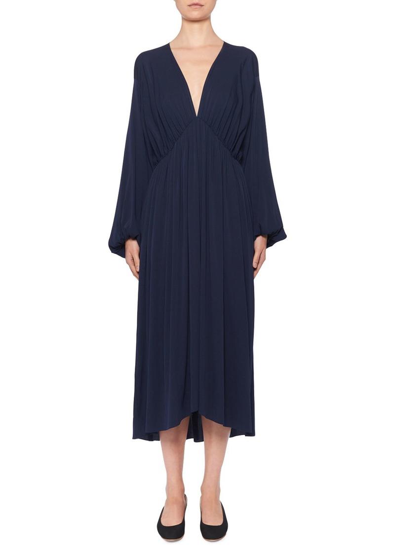 THE ROW Sasha V-Neck Ruched Stretch-Silk Midi Dress