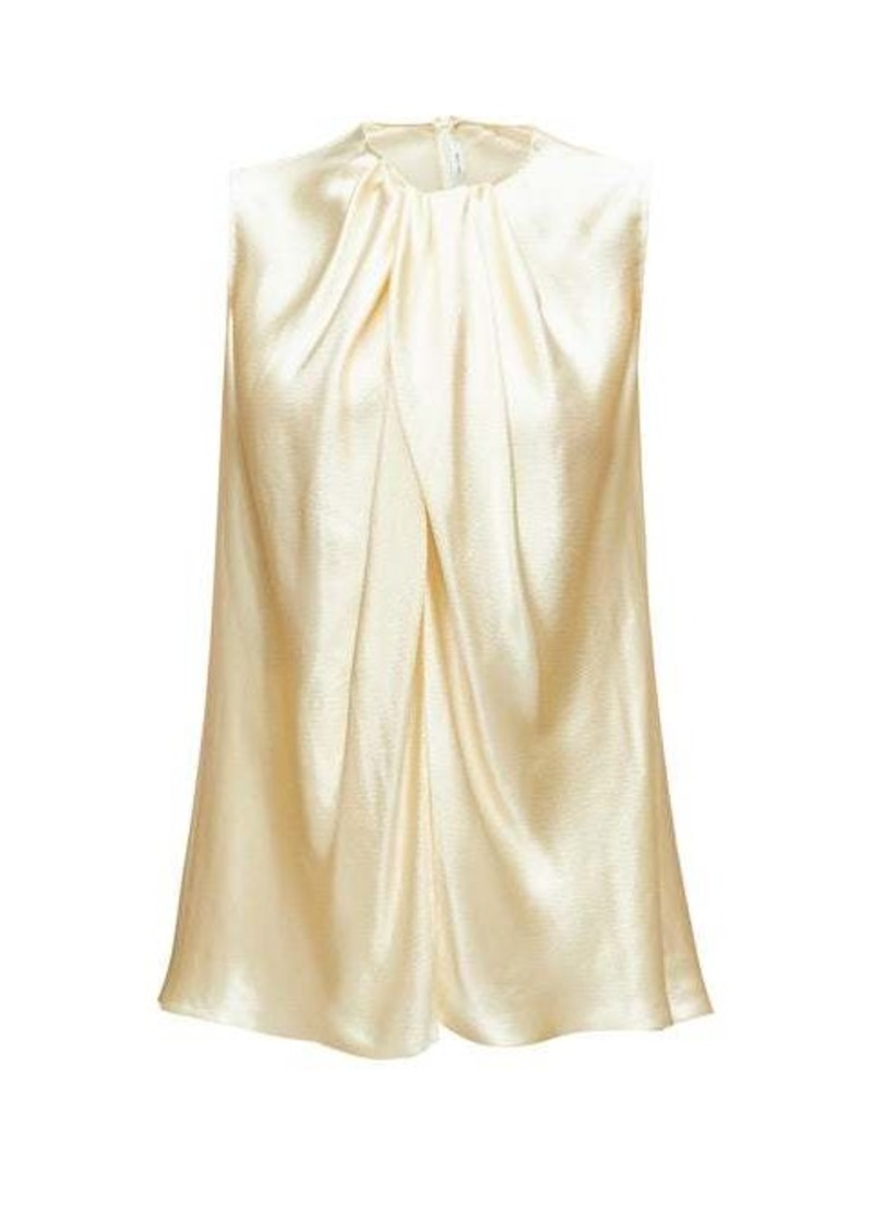 The Row Shira sleeveless hammered-satin top