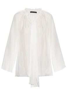 The Row Spira drawstring-neck silk top