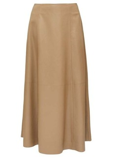 The Row Timowa grained-leather midi skirt