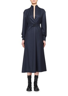 THE ROW Tula Wool Belted Shirtdress