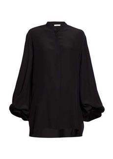The Row Vara balloon-sleeve crepe blouse