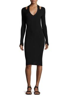 The Row Venia Slit-Shoulder Midi Dress
