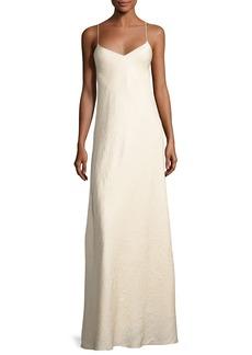 The Row Vera Cloque V-Neck Gown