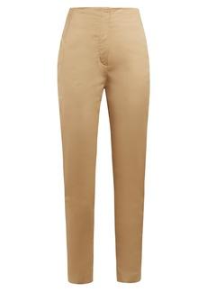 The Row Vivienne high-rise slim-leg cotton trousers