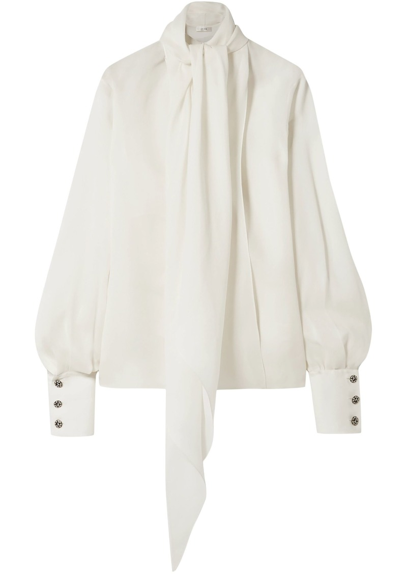 The Row Woman Asta Tie-neck Silk-crepe Blouse Ivory