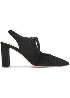 The Row Woman Bow-detailed Suede Slingback Pumps Black
