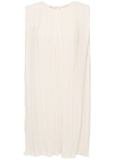 The Row Woman Claudia Pleated Crepe De Chine Mini Dress Ivory