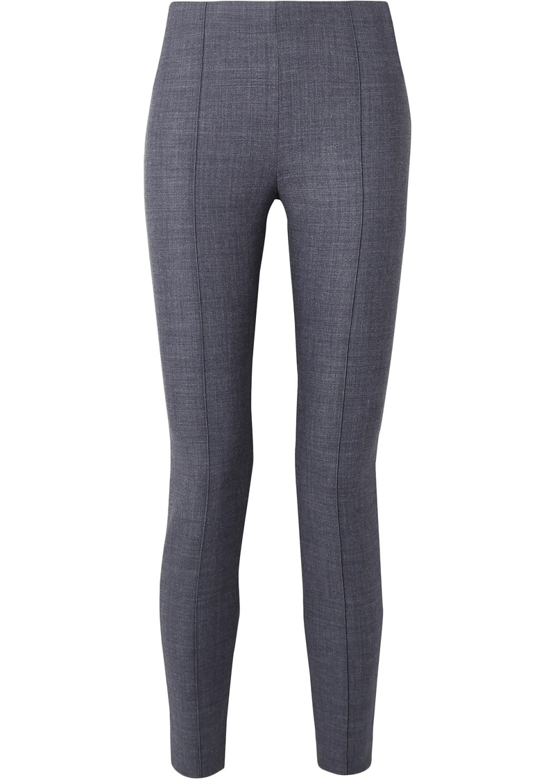 The Row Woman Cosso Mélange Stretch Wool-blend Skinny Pants Blue