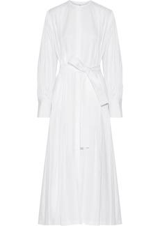 The Row Woman Crimson Pleated Cotton-poplin Maxi Dress White