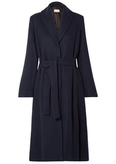 The Row Woman Dranner Belted Cotton And Wool-blend Coat Navy