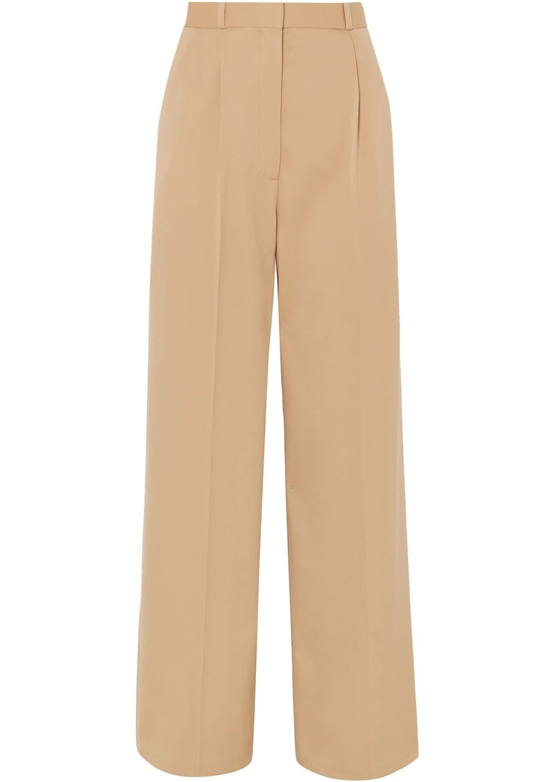 The Row Woman Elin Wool-blend Twill Wide-leg Pants Beige