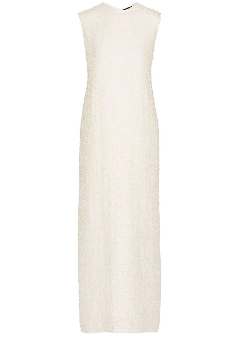 The Row Woman Ersa Linen-blend Bouclé Maxi Dress Off-white