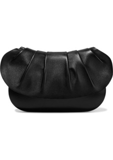 The Row Woman Fan Bag 10 Pleated Leather Clutch Black