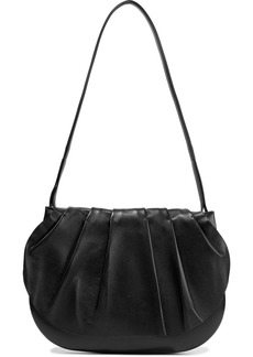 The Row Woman Fan Bag 12 Pleated Leather Shoulder Bag Black