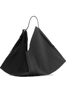 The Row Woman Flat Hobo Small Leather Shoulder Bag Black